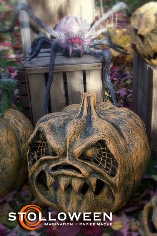 These awesome Halloween decorations are PAPER MACHE.  Can you believe?
